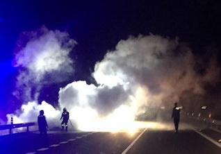 Car Burns on A-7 Access Road