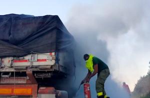 MOT Lorry on Fire 01