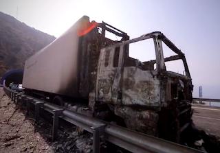 COS Lorry Burns on A-7 Sorvilán
