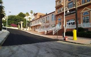 ALM Velilla Roadworks Finished, tarmacked outside Hotel Bahia